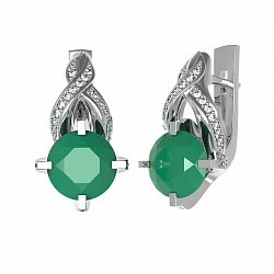 Серебряные серьги Нинель с зеленым агатом и фианитами 000079766