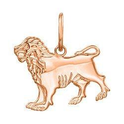 Кулон из красного золота Знак Зодиака Лев 000121526