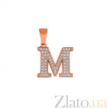 Золотая подвеска Буква М VLT--ЕЕ3549-М