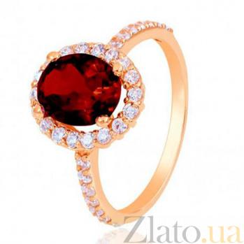 Золотое кольцо Альда с гранатом и фианитами EDM--КД4036ГРАНАТ
