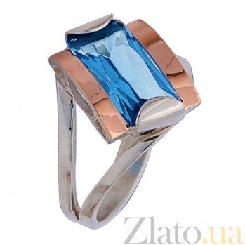 Серебряное кольцо с золотой вставкой и цирконием Лиана Лиана к