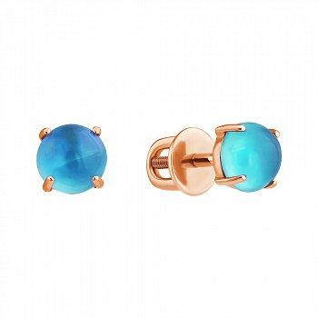 Золотые серьги-пуссеты с голубыми топазами 000102367