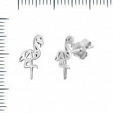 Серебряные серьги-пуссеты Милые фламинго