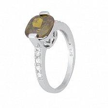 Серебряное кольцо с зеленым фианитом Менелая