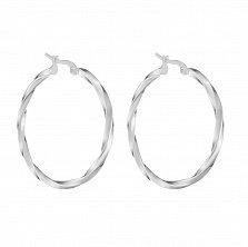 Серьги-кольца Косичка из родированного серебра