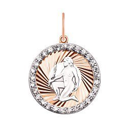 Золотой кулон Дева в комбинированном цвете с фианитами  000126437