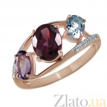 Кольцо из красного золота Рандеву с родолитом, аметистом, топазом и бриллиантами  000045937