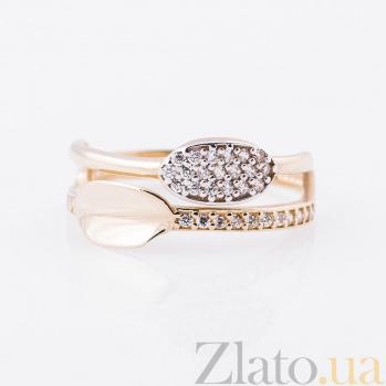 Золотое кольцо Марсельес в желтом золоте с дорожкой и цирконием 000082357