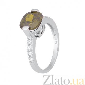 Серебряное кольцо с зеленым фианитом Менелая SLX--КК2ФХ/387