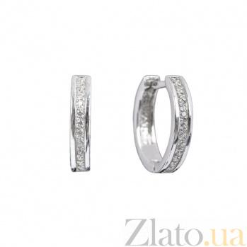 Серебряные серьги-конго Орландо с дорожками белого циркония 000080049