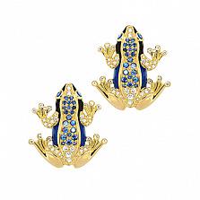 Золотые серьги с эмалью, бриллиантами и сапфирами Лягушки Чудо Бытия