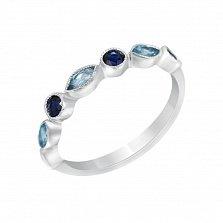 Золотое кольцо Фиона в белом цвете с сапфирами и голубыми топазами