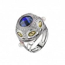 Серебряное кольцо Шахерезада с разноцветными фианитами и жемчужинами на шинке