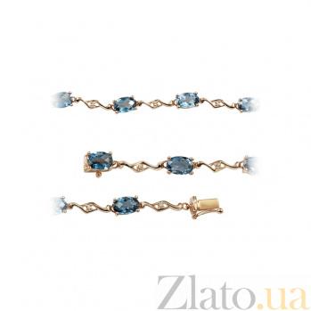 Золотой браслет с топазами и бриллиантами Морские волны 000026963