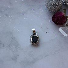 Серебряный подвес Ошер с гидротермальным сапфиром и фианитами