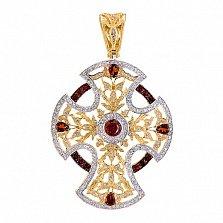 Декоративный крест в лимонном золоте с фианитами Анастасия