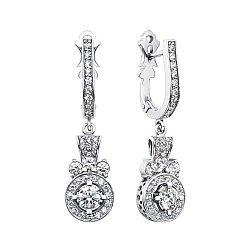 Серьги-подвески из белого золота с бриллиантами 000146778
