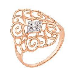 Золотое кольцо с кристаллами циркония 000104594