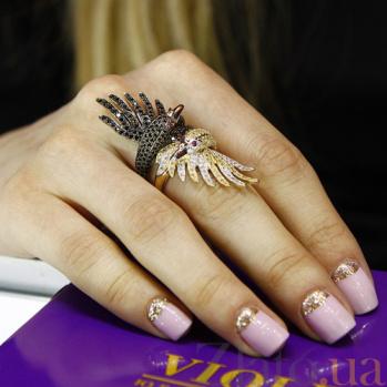 Золотое кольцо Лебедь с фианитами VLT--ТТ1254