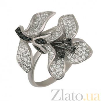 Кольцо из белого золота с цирконием Весенняя орхидея VLT--ТТ1052