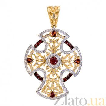 Декоративный крест в лимонном золоте с фианитами Анастасия VLT--ТТ3567-1-4