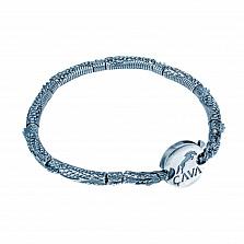 Серебряный браслет Огнедышащий дракон с корундом