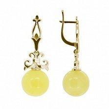 Золотые серьги-подвески Амбер с янтарем