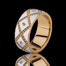 Женское обручальное кольцо Источник Счастья с эмалью и бриллиантами