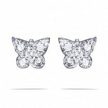 Золотые серьги-пуссеты Сияющие бабочки в белом цвете с цирконием