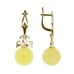Золотые серьги-подвески с янтарем 000050798
