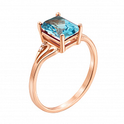 Кольцо из красного золота с голубым топазом и фианитами 000133415