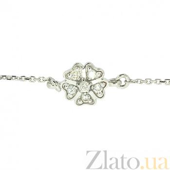 Золотой браслет в белом цвете с бриллиантами Цветочек ZMX--BCD-00207\1w_K