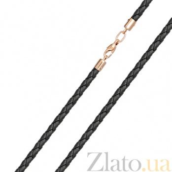 Кожаный шнурок с золотом Индия 000023605