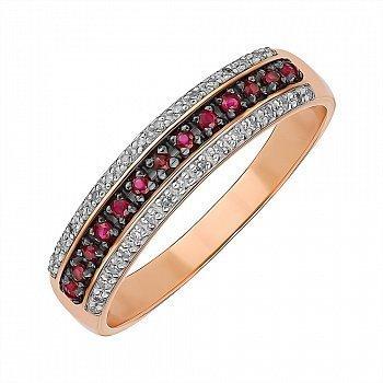 Золотое кольцо в комбинированном цвете с рубинами и бриллиантами 000145444