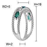 Кольцо Словения из белого золота с бриллиантами и изумрудами