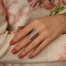Серебряное кольцо Корсет с дорожками белых фианитов
