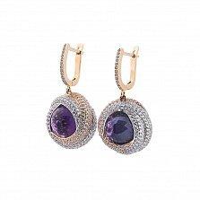 Золотые серьги-подвески Каталина с фиолетовым и белыми фианитами