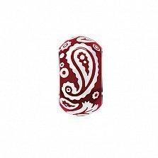Серебряная бусина с красной эмалью Акварель