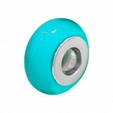 Серебряный шарм Морская лазурь с голубым муранским стеклом