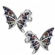 Серьги-пуссеты Сказочная бабочка из белого золота с бриллиантами, сапфирами и рубинами