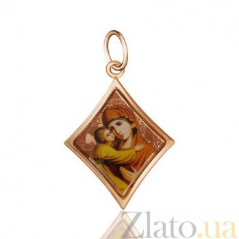 Ладанка из красного золота с ликом Владимирская Божья Матерь EDM--П100ЭМ