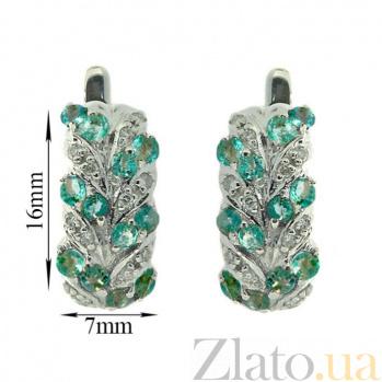 Серебряные серьги с бриллиантами и изумрудами Колосок ZMX--EDE-15431-Ag_K
