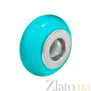 Серебряный шарм Морская лазурь с голубым муранским стеклом 000081726
