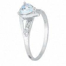 Серебряное кольцо с голубым цирконием Страстная любовь