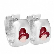 Серебряные серьги с ювелирной эмалью Сердце
