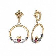 Золотые кладдахские серьги-подвески Царство любви с синтезированными рубинами