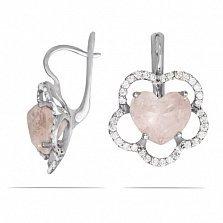 Серьги из белого золота Сердце цветка с розовым кварцем и фианитами