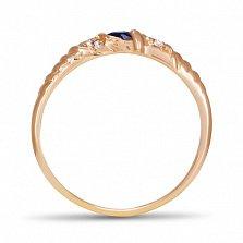 Золотое кольцо Бавария с синтезированным сапфиром и фианитами