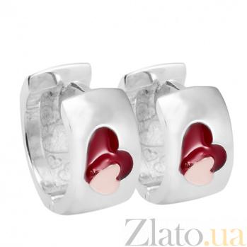 Серебряные серьги с ювелирной эмалью Сердце Сердце  с