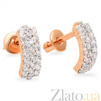 Золотые серьги с цирконием Дезире SUF--110277